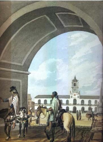 """""""La Plaza o Gran Square de Buenos Aires"""" (1817)"""", de Emeric Essex Vidal."""